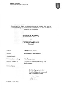 FMW Schweiz GmbH_Widnau_Personalverleihbewilligung