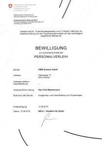 FWM Bewilligung grenzubersch reitender Personalverleih